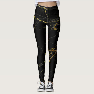 Gold and Black Marble Leggings