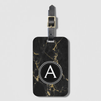 Gold and Black Marble Monogram Luggage Bag Tag