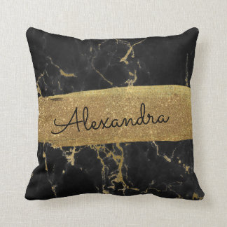 Gold and Black Marble with Gold Foil and Glitter Throw Pillow