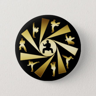 GOLD AND BLACK MARTIAL ARTS 2 INCH ROUND BUTTON