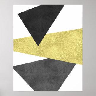 Gold and black Modern minimal geometric art Poster