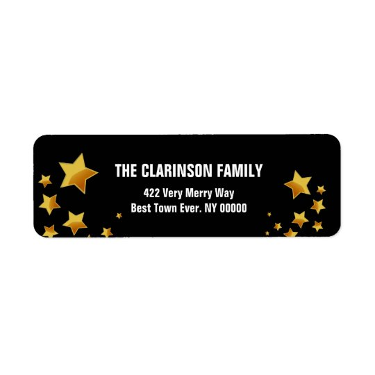 Gold and Black Modern Stars G303 Return Address Label