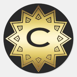 GOLD AND BLACK MONOGRAM C ORNAMENT ROUND STICKER