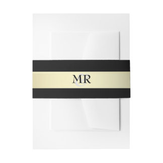 Gold and Black Monogram Wedding Belly Bands Invitation Belly Band