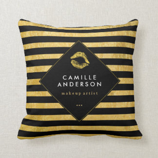 Gold and Black MUA and Fashion Throw Pillow