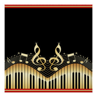 Gold And Black Music Notes Black Background Poster