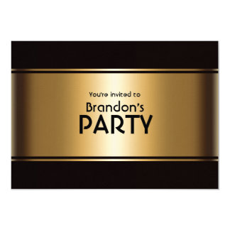 Gold and Black Music Notes Party Card