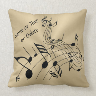 Gold and Black Music Notes Pillow with Your Text