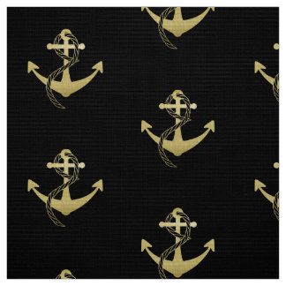 Gold and Black Nautical Anchor Fabric