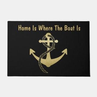 Gold and Black Nautical Doormat