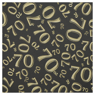 Gold and Black Number 70 Typography Pattern Fabric