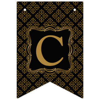 Gold and Black Ornate Elegance Bunting Flags