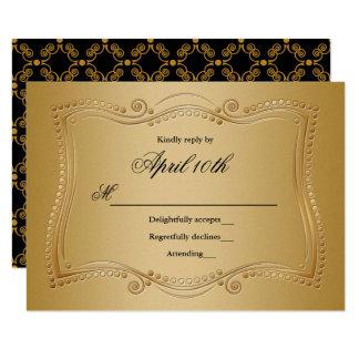 Gold and Black Ornate Elegance RSVP Card