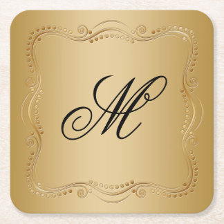 Gold and Black Ornate Elegance Square Paper Coaster