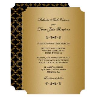 Gold and Black Ornate Elegance Wedding Invitation