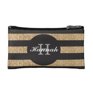 Gold and black personalized bridesmaid makeup bag