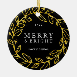Gold and Black Photo Ornament
