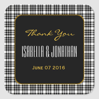 GOLD and BLACK PLAID Thank You Wedding V94 Square Sticker