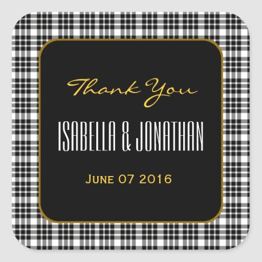 GOLD and BLACK PLAID Thank You Wedding V94 Square Stickers