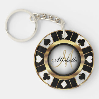 Gold and Black Poker Chip Design - Monogram Keychain
