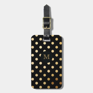 Gold and Black Polka Dot Luggage Tag