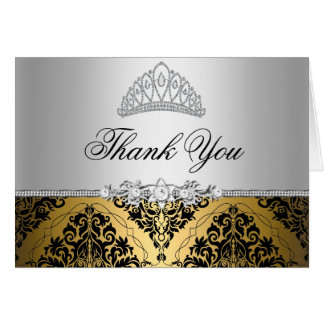 Gold and Black Princess Tiara Thank You Card