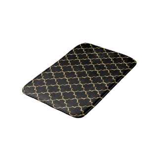 Gold and Black Quatrefoil Bath Mat