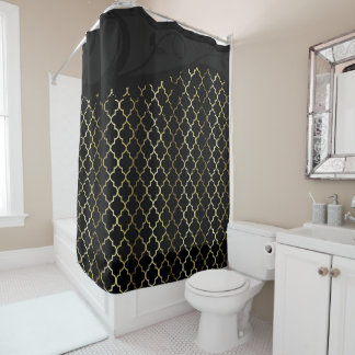 Gold and Black Quatrefoil Pattern