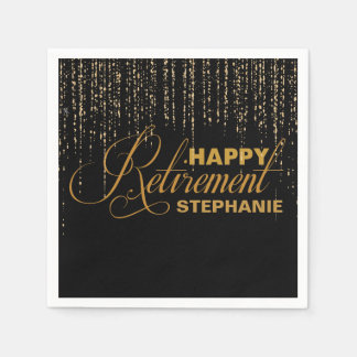 Gold and Black Retirement Party, Custom Napkins Paper Napkins