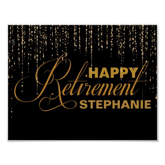 Gold and Black Retirement Party Poster