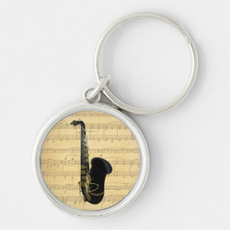 Gold and Black Saxophone Luggage or Laptop Tag Silver-Colored Round Keychain