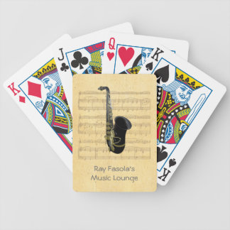 Gold and Black Saxophone Sheet Music Playing Cards