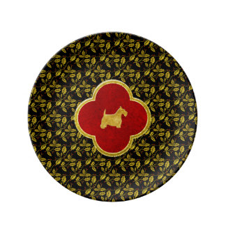 Gold and Black Scottie Christmas Plate