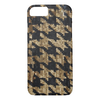 Gold and Black Sequins Houndstooth iPhone 7 Case