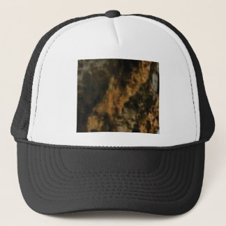 gold and black stone trucker hat