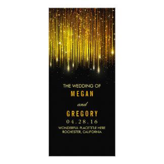Gold and Black String Lights Wedding Programs Custom Rack Cards