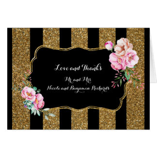 Gold and Black Stripes Floral Wedding Thank You Card