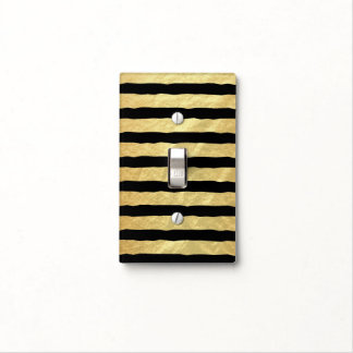 Gold and Black Stripes Light Switch Cover
