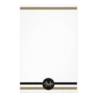 Gold and Black Stripes Monogram Stationery