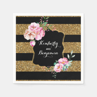 Gold and Black Stripes Pink Vintage Floral Wedding Paper Napkins