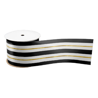 Gold and Black Stripes Satin Ribbon