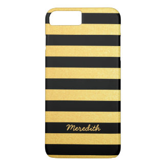 Gold and Black Stripes with Name iPhone 7 Plus Case