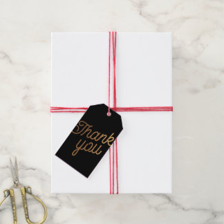 Gold and Black Swirl and Curl Thank You Gift Tag