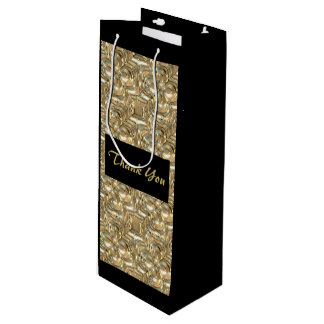 Gold and Black Tall Gift Bag Wine Thank You