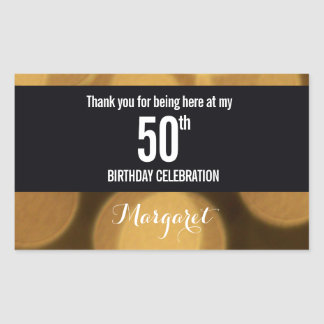 Gold and black theme, 50th birthday rectangular sticker