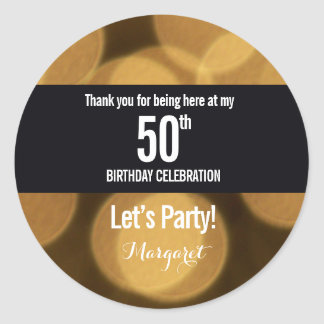 Gold and black theme, 50th birthday round sticker