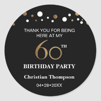 Gold and black theme, 60th birthday round sticker