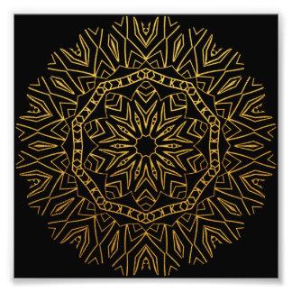 Gold and Black Tribal Snowflake Floral Mandala Photographic Print