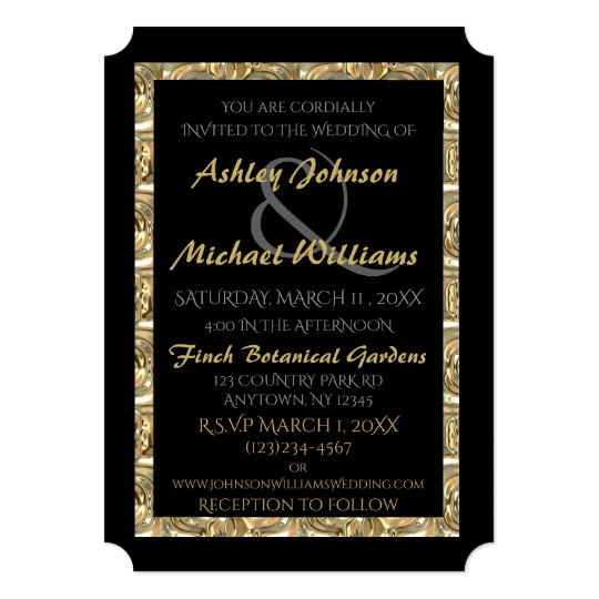 Gold and Black Wedding Invitation (Variation)