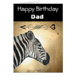 Gold And Black Zebra Birthday Card For Dad